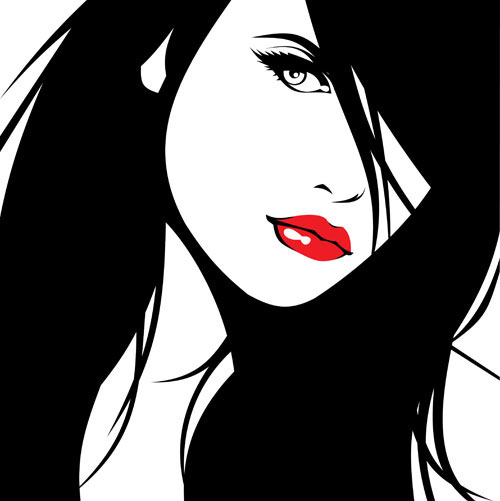 Beautiful silhouette 01 - vector material