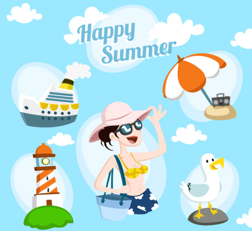 5 fresh summer vacation element vector material