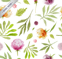 Watercolor leaves and flowers seamless background vector