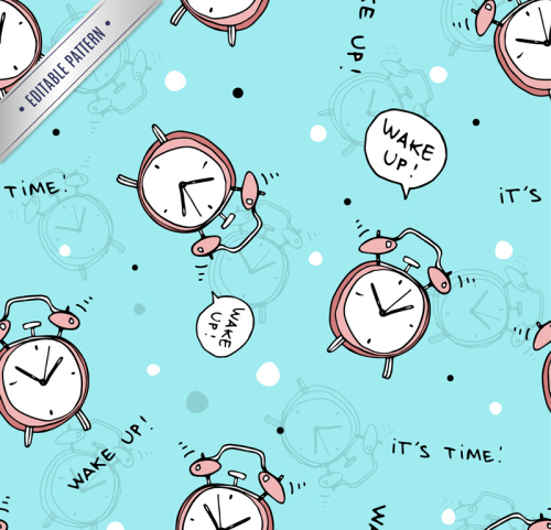 Creative alarm clock seamless background vector material
