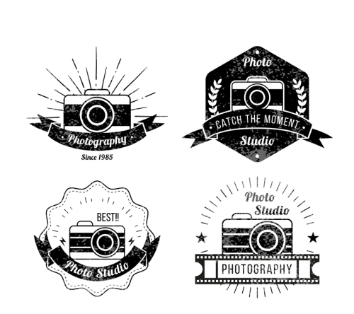 4 Vintage Photography label vector material