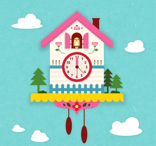 Exquisite cuckoo clock vector material